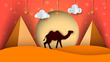 Cartoon paper landscape. Camel illustration. Cloud, star, sun, pyramid.