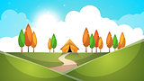 Cartoon landscape. Tent, tree, hill, grass illustration.
