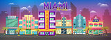 Old Miami skyline panorama at sunset. Retro city retro cityscape, retro background miami florida skyline