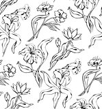 Vintage floral seamless pattern with hand drawn Lily.