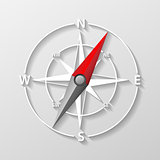 Compass arrow object isolated. 3d Navigation and direction icon with shadow. Direction and navigation compass sign for adventure. Vector illustration