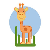Cartoon giraffe character. Vector illustration isolated