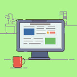 Business concept. Vector illustration Icon workplace with computer flat design