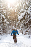 Cyclist in Blue Riding the Mountain Bike in Beautiful Sunny Winter Forest. Extreme Sport and Enduro Biking Concept.