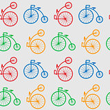 Seamless pattern with retro big wheel bicycles. multicolored antique old bicycle with big wheels Penny-farnet.