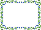 Floral frame in green and blue hues