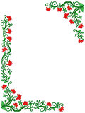 Floral frame in green and red hues