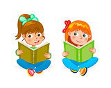 Two little happy girls read books