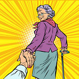 follow me Mature woman Granny leads hand
