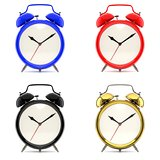 Set of 4 colorful alarm clocks 3D illustration