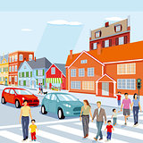 City with pedestrian crossing and cars, illustration