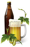 beer mug, hop, bottle