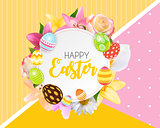 Happy Easter Cute Background with Eggs. Vector Illustration EPS1