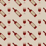 Vector seamless pattern with wine glasses and bottle