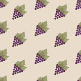 Seamless pattern with grapes and leaves. Repeating endless violet grape. Vector