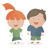 Boy and girl. Funny cartoon and vector teen characters