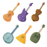 Musical stringed instruments in cartoon style guitar, violin, balalaika, lute