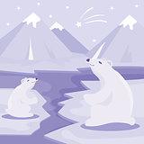 International Polar Bear Day poster. Illustration of cute Polar Bears