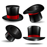 Set of black magician cylinder hats