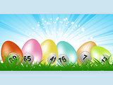 Easter bingo lottery eggs panel on grass