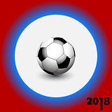 Soccer football on white blue and red background 2018
