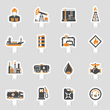 Oil Industry Icons Sticker Set