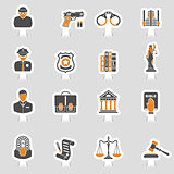 Crime and Punishment Icons Sticker Set