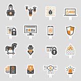 Internet Security Icon Sticker Set