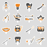 Dental Services sticker two color Sticker Icons Set