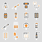 Medical sticker icons set