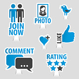 Set Social Media Sticker Icons