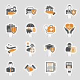 Insurance Icons Sticker Set