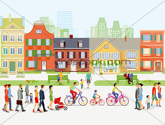 Cityscape with stroller and cyclist