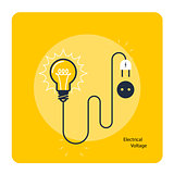Light bulb with plug on cord - icon, electricity and voltage con
