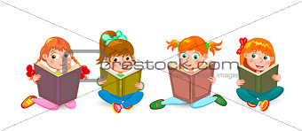 Little children read interesting books