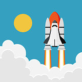 Space Shuttle Launch into the Sky : New Business Project Start,