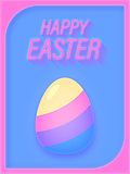 Minimal Happy Easter Egg Retro 80s Style