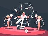 Artist juggler in circus arena