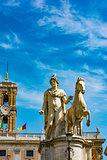 Statue of Pollux with his horse at Piazza del Campidoglio on Capitoline Hill, Rome, Italy