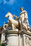 Marble statues of the Dioscuri, Castor and Pollux on the top of Capitoline Hill and Piazza del Campidoglio, Rome, Italy.