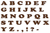 the English alphabet from coffee beans