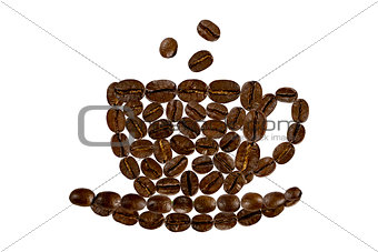 a cup of morning coffee from coffee beans