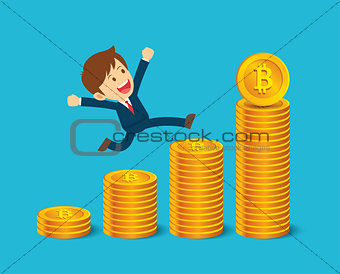 Businessman are happy at the bitcoin prices up. Cryptocurrency m