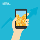 Bitcoin on smartphones with human hand. Cryptocurrency market co