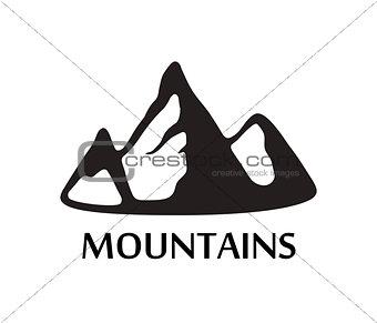 Black Logo of Mountains isolated on White Background
