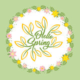 Hello Spring beautiful greeting card with flowers on a white background and stylized inscription. Spring template for your design, cards, invitations, posters.