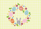 Easter wreath with easter eggs on white background. Decorative doodle frame from Easter eggs and floral elements.