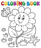 Coloring book flower topic 6