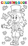 Coloring book leprechaun girl theme 1