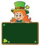 Leprechaun girl holding greenboard 1